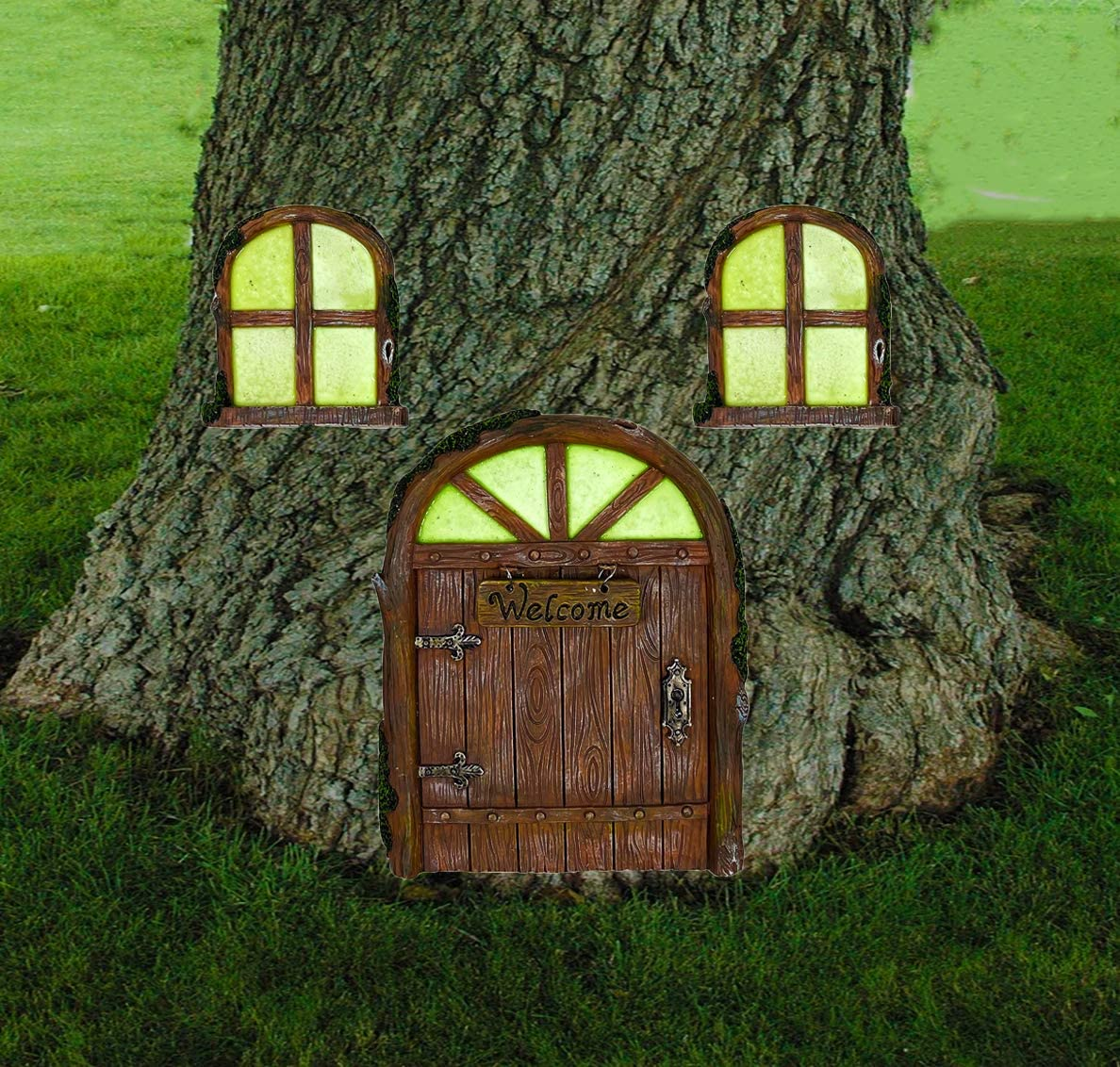 ALLADINBOX Miniature Fairy Gnome Home Window and Door with Welcome Sign for Trees Decoration, Glow in Dark Fairies Sleeping Door and Windows, Yard Art Garden Sculpture Lawn Ornament Decoration
