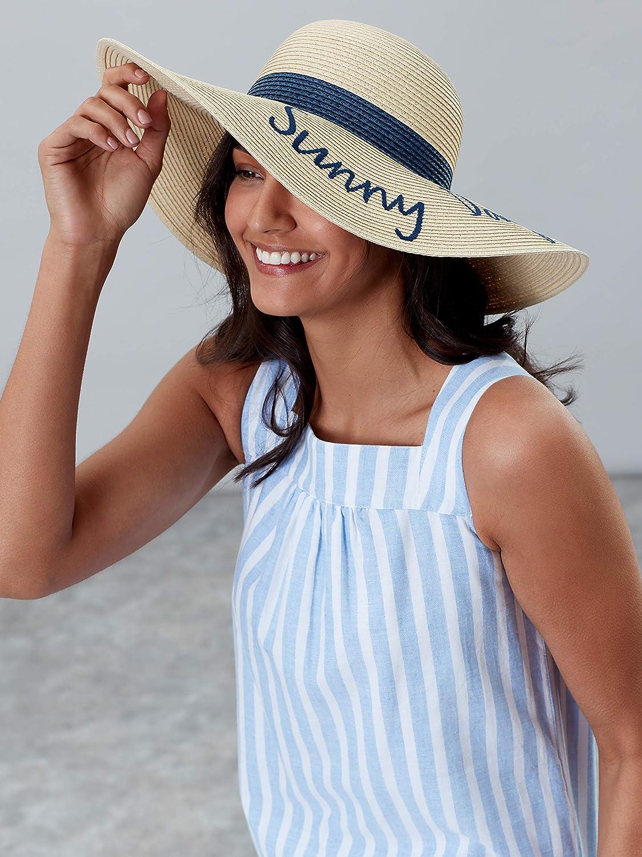 Joules Womens Shade Wide Brimmed Slogan Summer Beach Hat