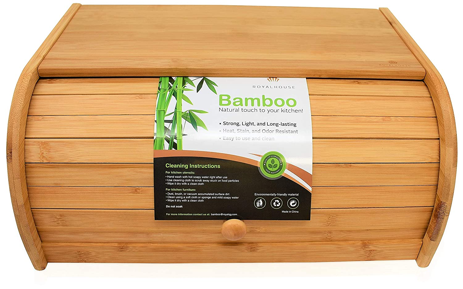 Natural Bamboo Roll Top Bread Box Kitchen Food Storage