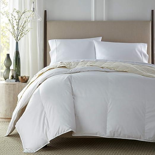 Over-Sized Cotton Damask Striped Down-Like Comforter Downlite PrimaLoft Heavy
