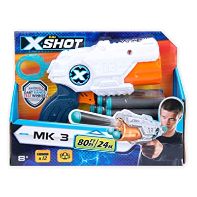XShot MK3 Dart Blaster + 12 Long Range Soft Darts - Blasts Up to 80 Feet!: Toys & Games