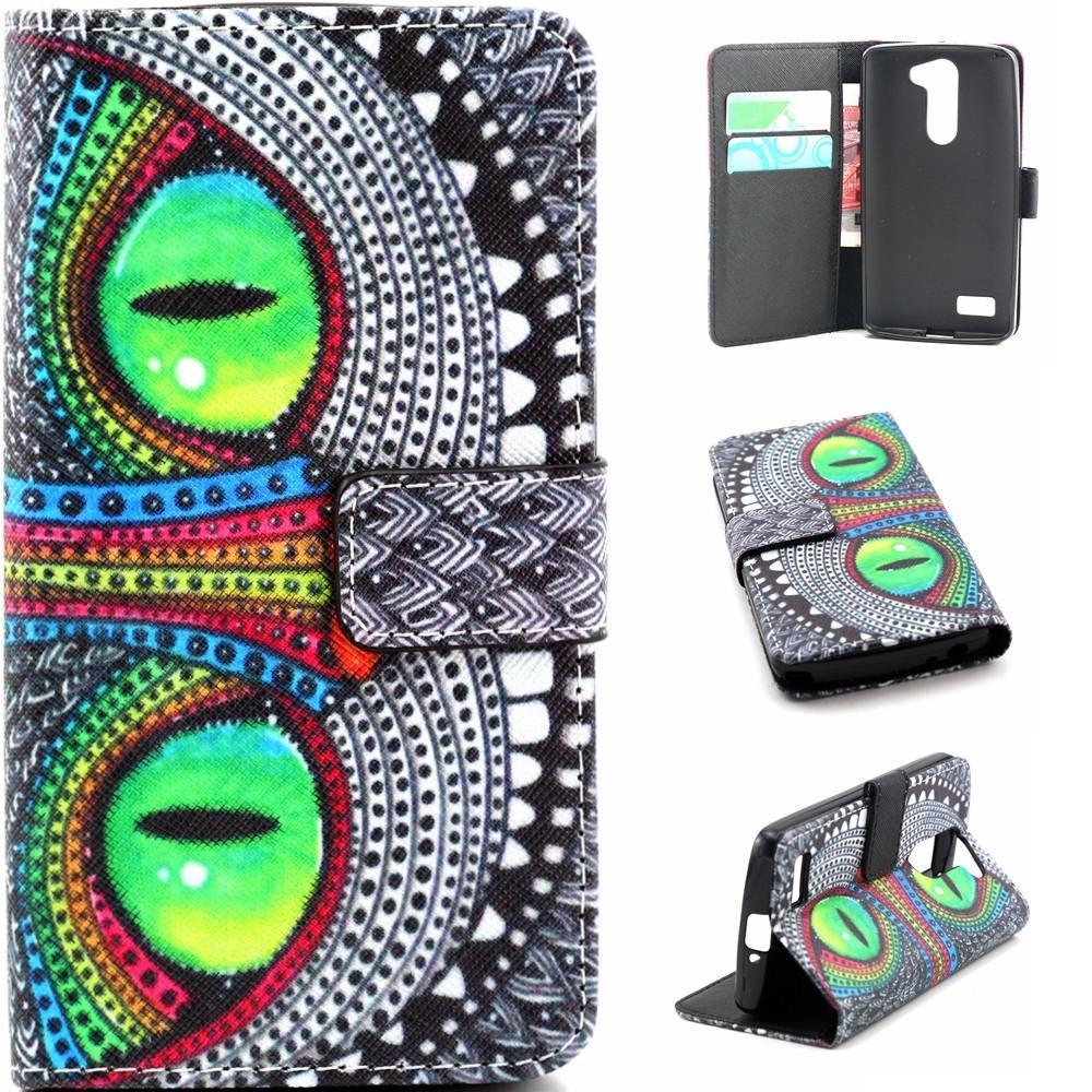 Funda para LG D331,Funda de Cuero Cartera Piel Carcasa para LG L Bello D331 D335 Wallet Cover Case-Ojos verdes