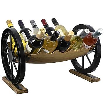 Soporte para botellas de vino con rueda de carrito de almacenamiento, hecho a mano, madera sin tratar, hasta 10 botellas de capacidad: Amazon.es: Hogar