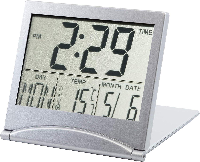 Hotel per Ufficio Boquite Carnevale di Natale Orologio termometro Display LED Portatile Orologio da Comodino in ABS Argento