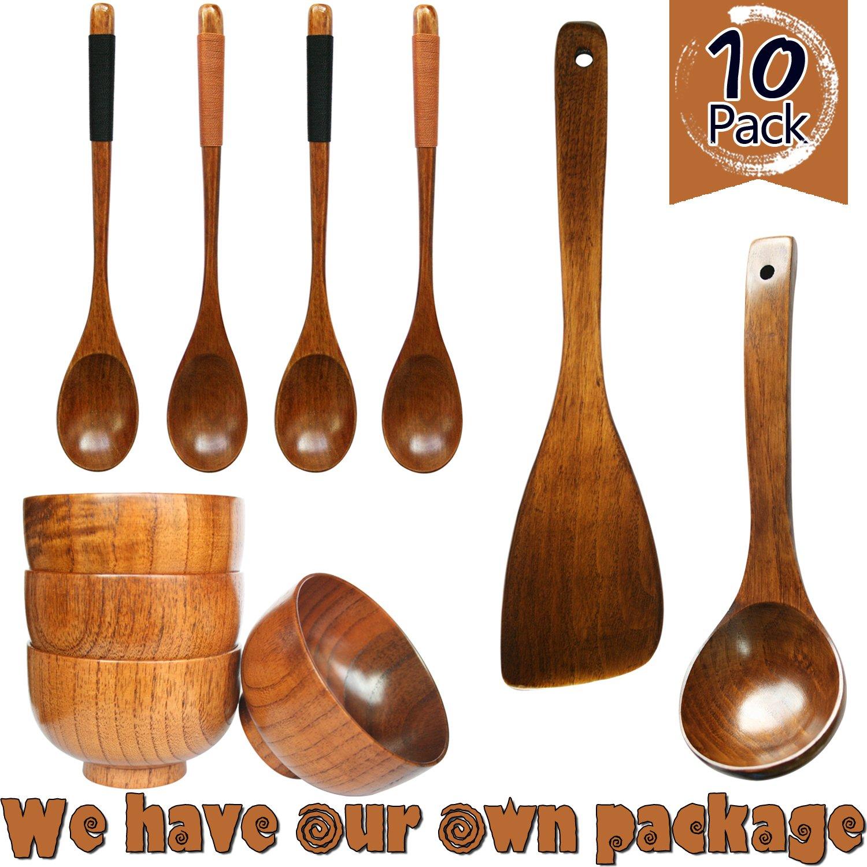 HIZBO MART 10 Piece Handmade Wooden Tableware Set