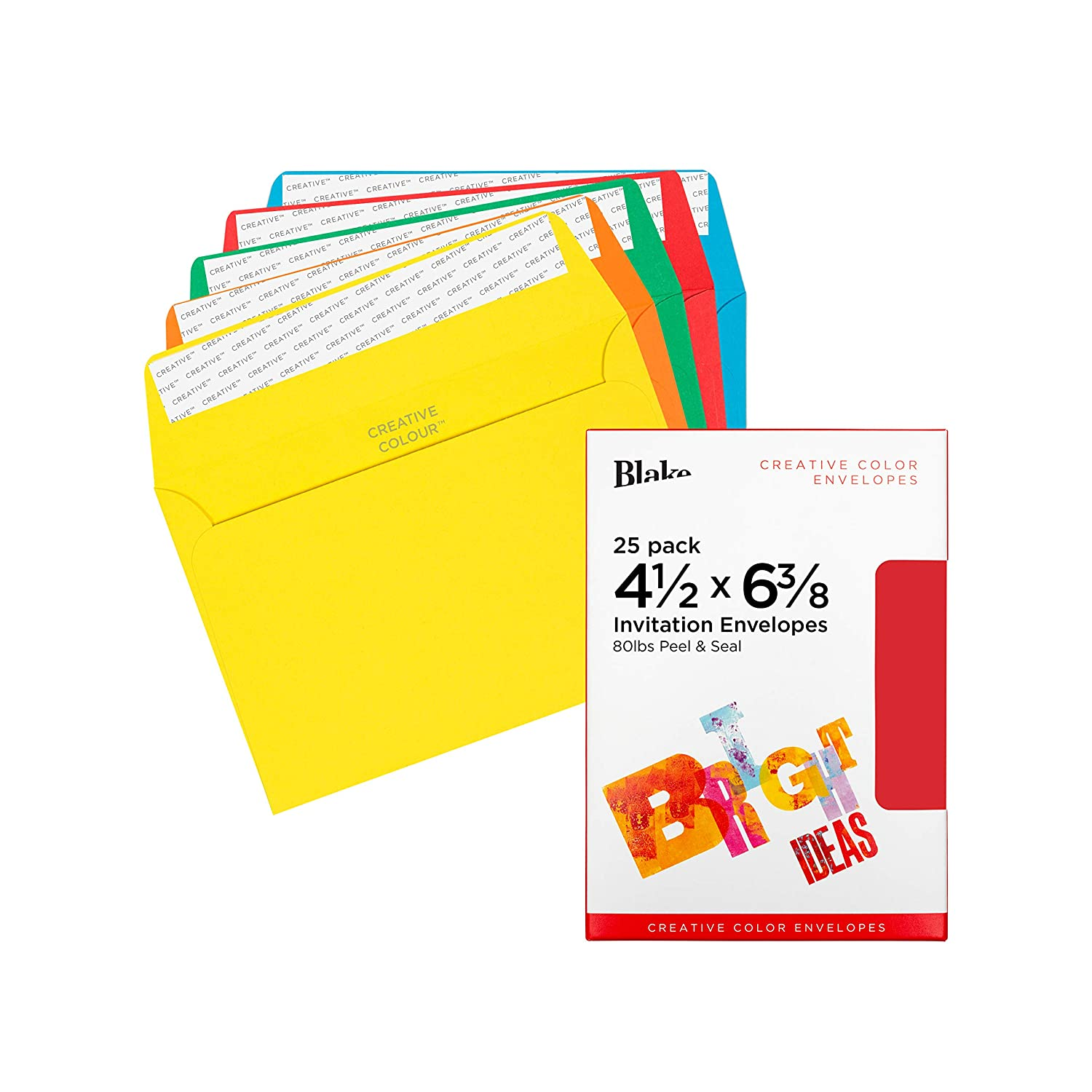 - Pack of 500 Bright Red Invitation Envelopes 106-76 Blake Creative Color 4 1//2 x 6 3//8 Inches Peel /& Seal Fire Engine Red 80lb Paper