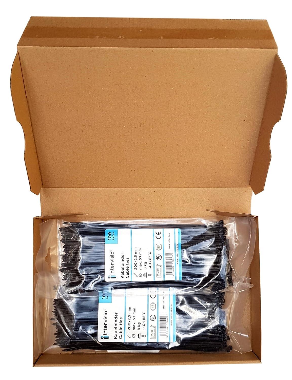 Fermacavo Nere e Bianche Elettricista 200mm Nylon Cavi Velcro Stringicavo 200 Pezzi intervisio Fascette Plastica per Cablaggio 200 mm x 2,5 mm Nero e Bianco