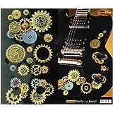 Steampunk Gear Set w/ Guitar Volume Tone Knob Inlay Stickers Decals