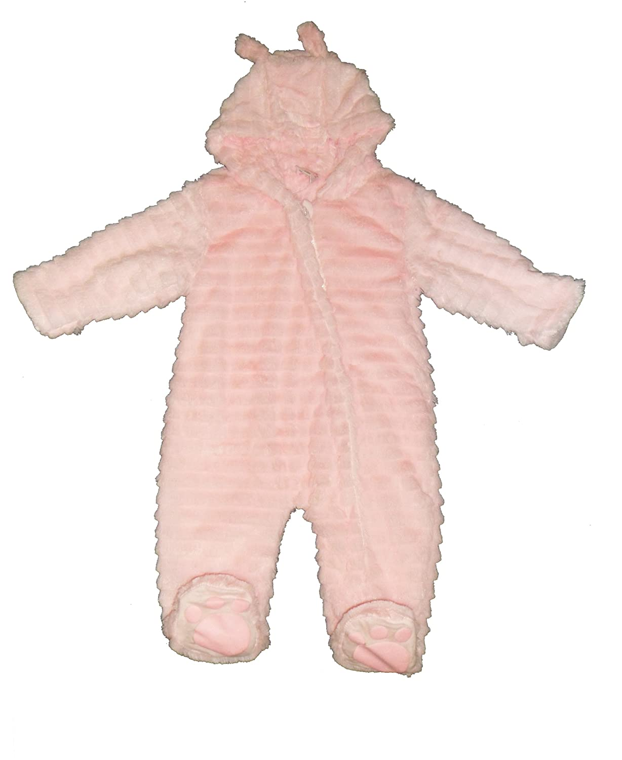 86707f650 Baby Cute Pink Supersoft Ribbed Fur Snowsuit With Ears   Fold Over ...