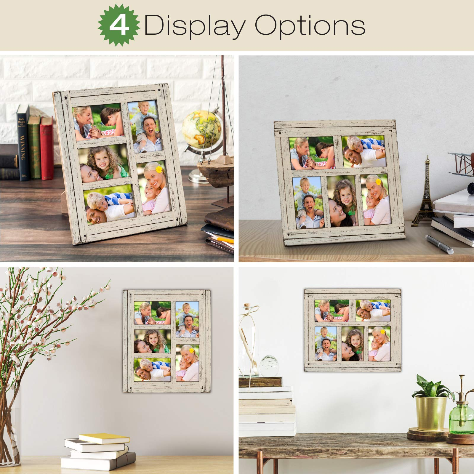 Collage Picture Frames from Rustic Distressed Wood: Holds Five 4x6 Photos: Ready to Hang or use Tabletop. Shabby Chic, Driftwood, Barnwood, Farmhouse, Reclaimed Wood Picture Frame Collage (White) by Excello Global Products (Image #5)