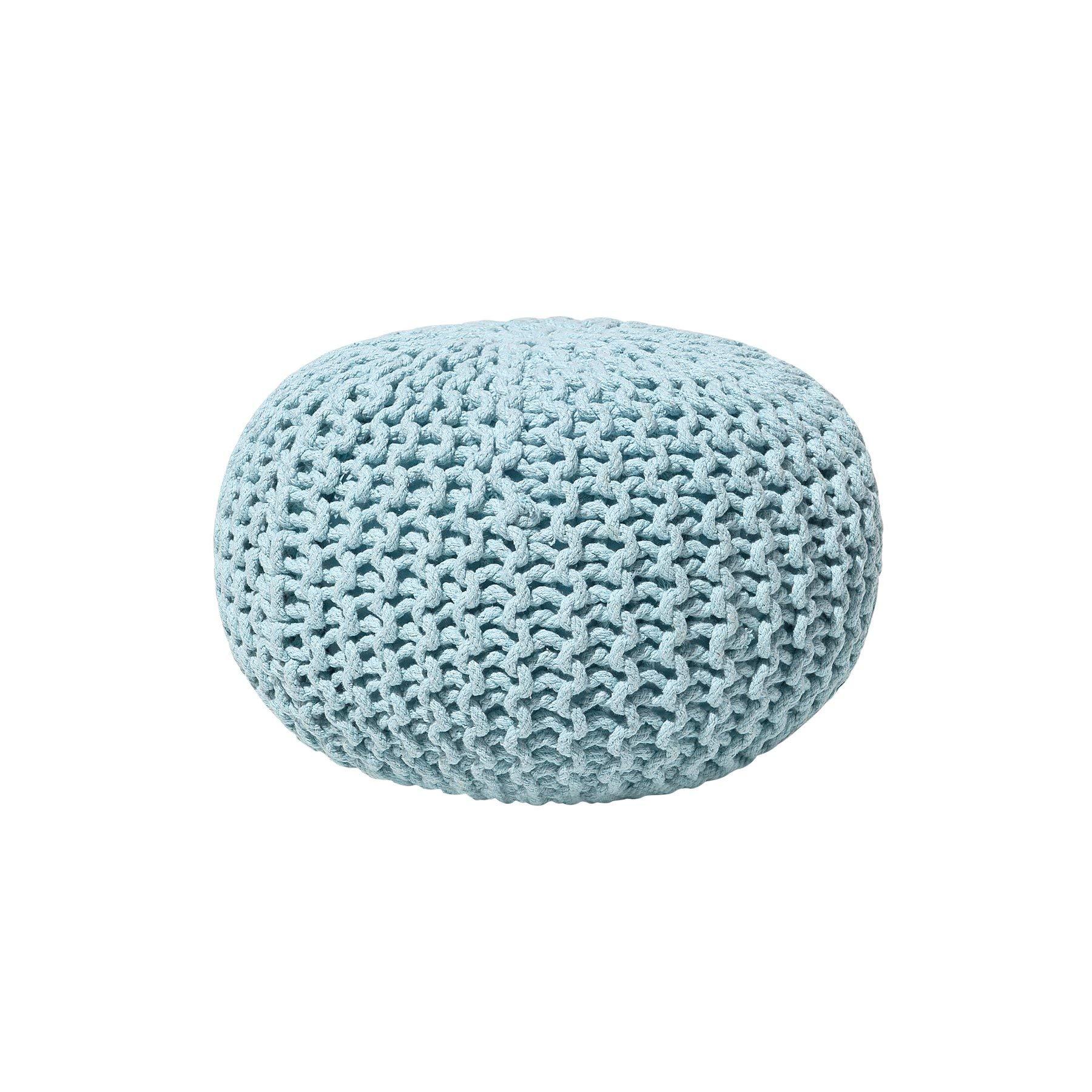 Beliani Modern Knitted Round Pouf Ottoman Soft Cotton Light Blue 16-inch Conrad
