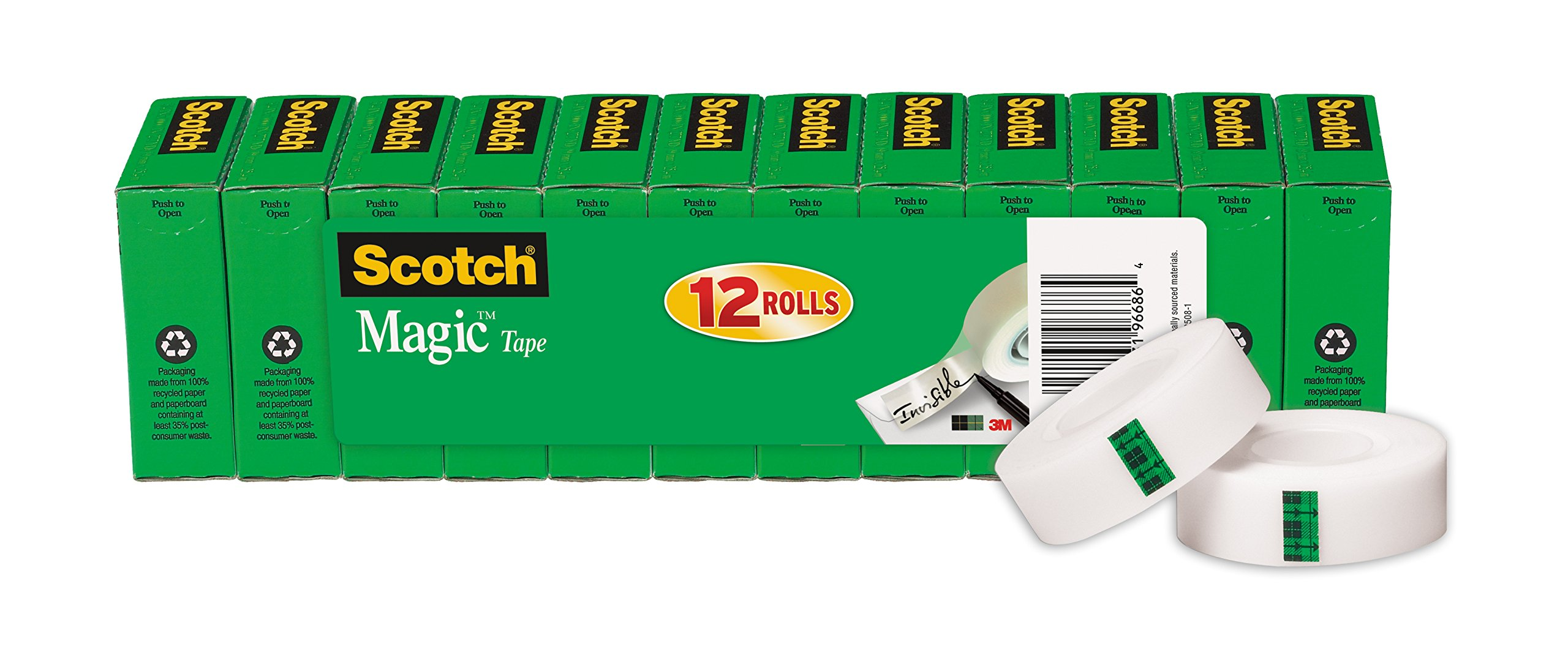 Scotch Magic Tape, Engineered for Office and Home Use, Versatile, 3/4 x 1000 Inches, Boxed, 12 Rolls (810K12) by Scotch (Image #1)