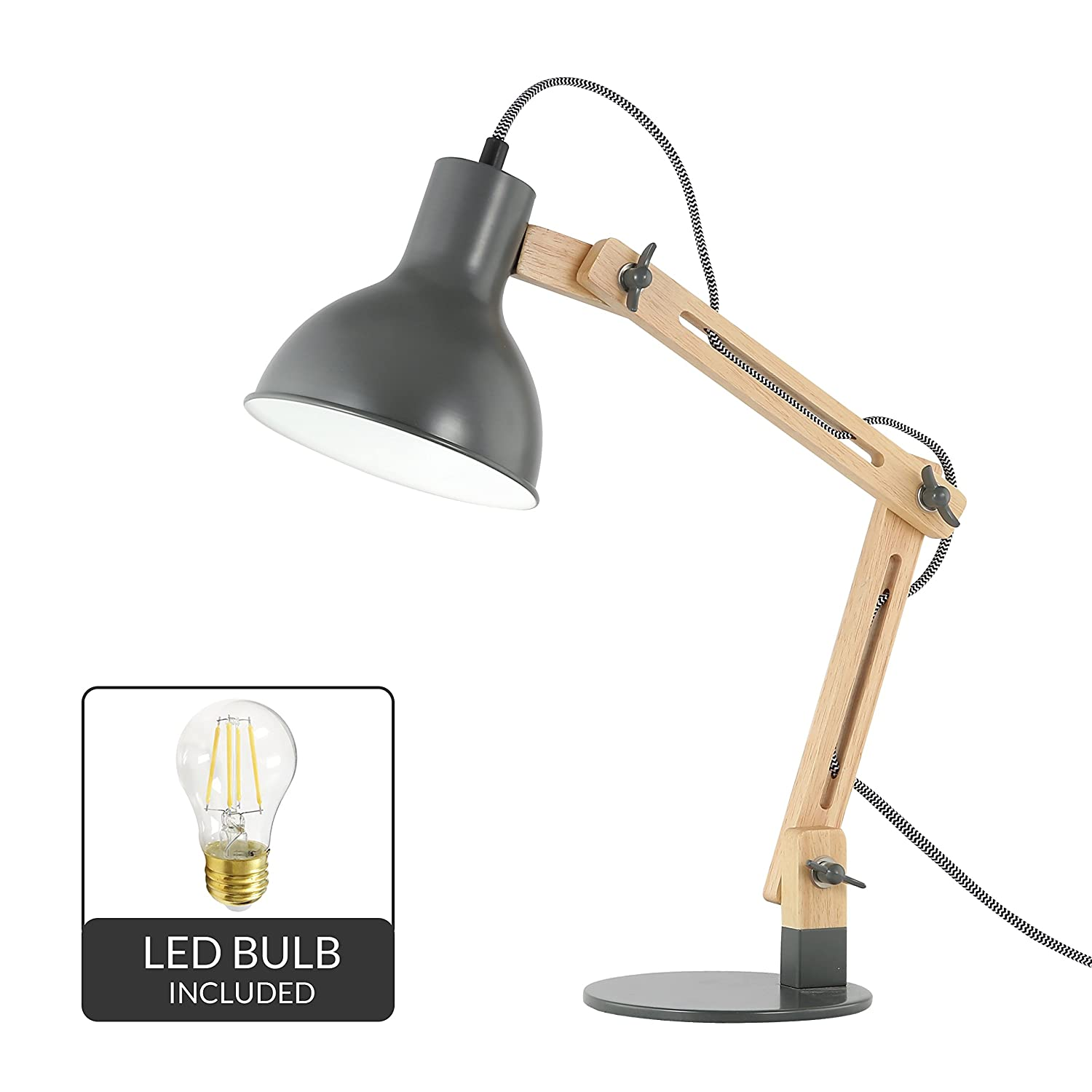 Light Society Galvan LED Task Table Lamp with LED Bulb Included, Natural Wood with Gray Shade and Base, Modern Industrial Pixar-Style (LS-T229-GRY)