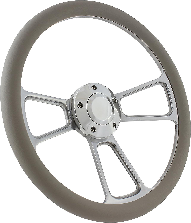 14 Billet Aluminum Grey Half Wrap Muscle Steering Wheel for Boats