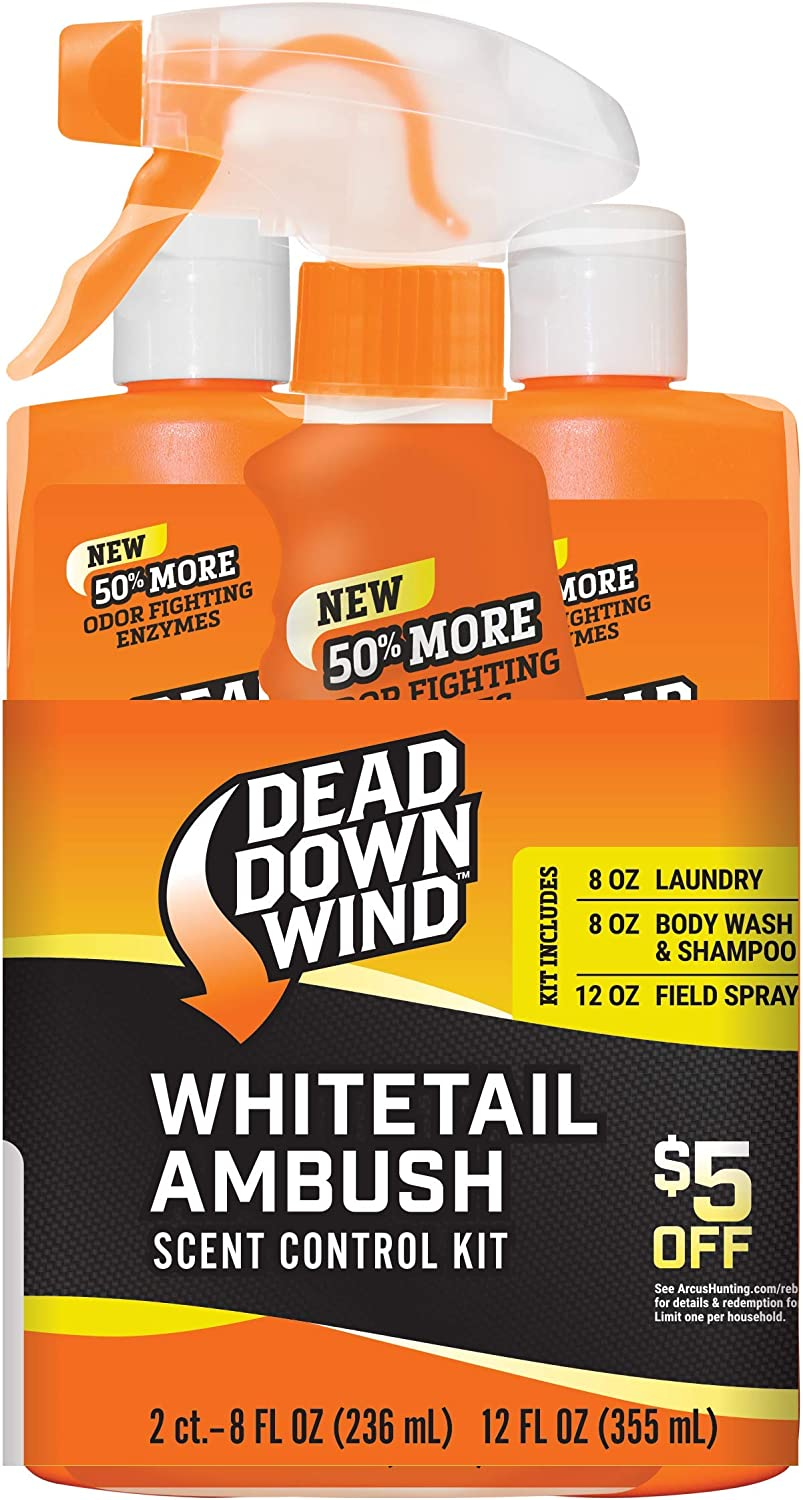 Dead Down Wind Whitetail Ambush Kit – Scent Elimination for Hunting Gear, Includes Laundry Detergent, Field Spray & Body Wash & Shampoo, 3 Piece Kit, Orange