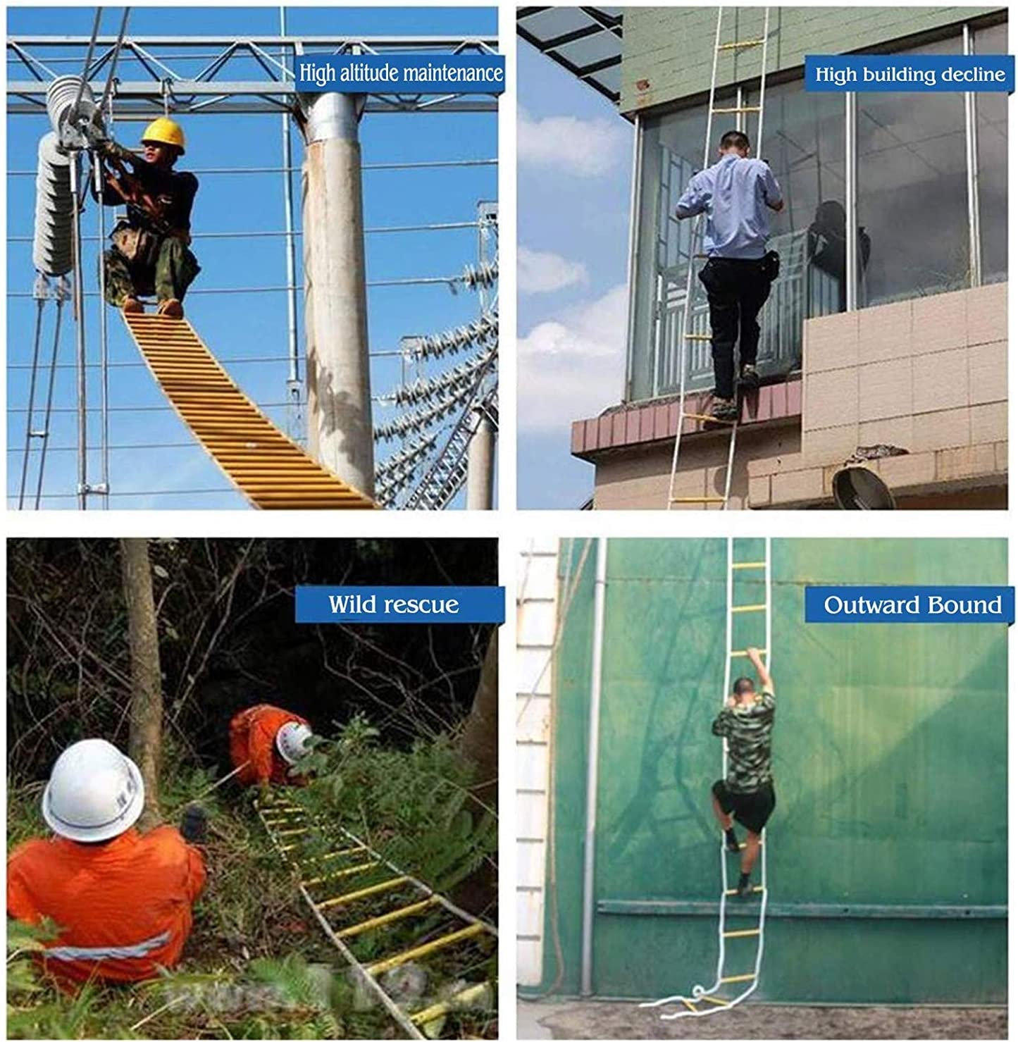 riutilizzabili Scale antincendio Resistenti alla Fiamma con Ganci e Cintura di Sicurezza RZiioo Emergency Fire Escape Rope Ladder