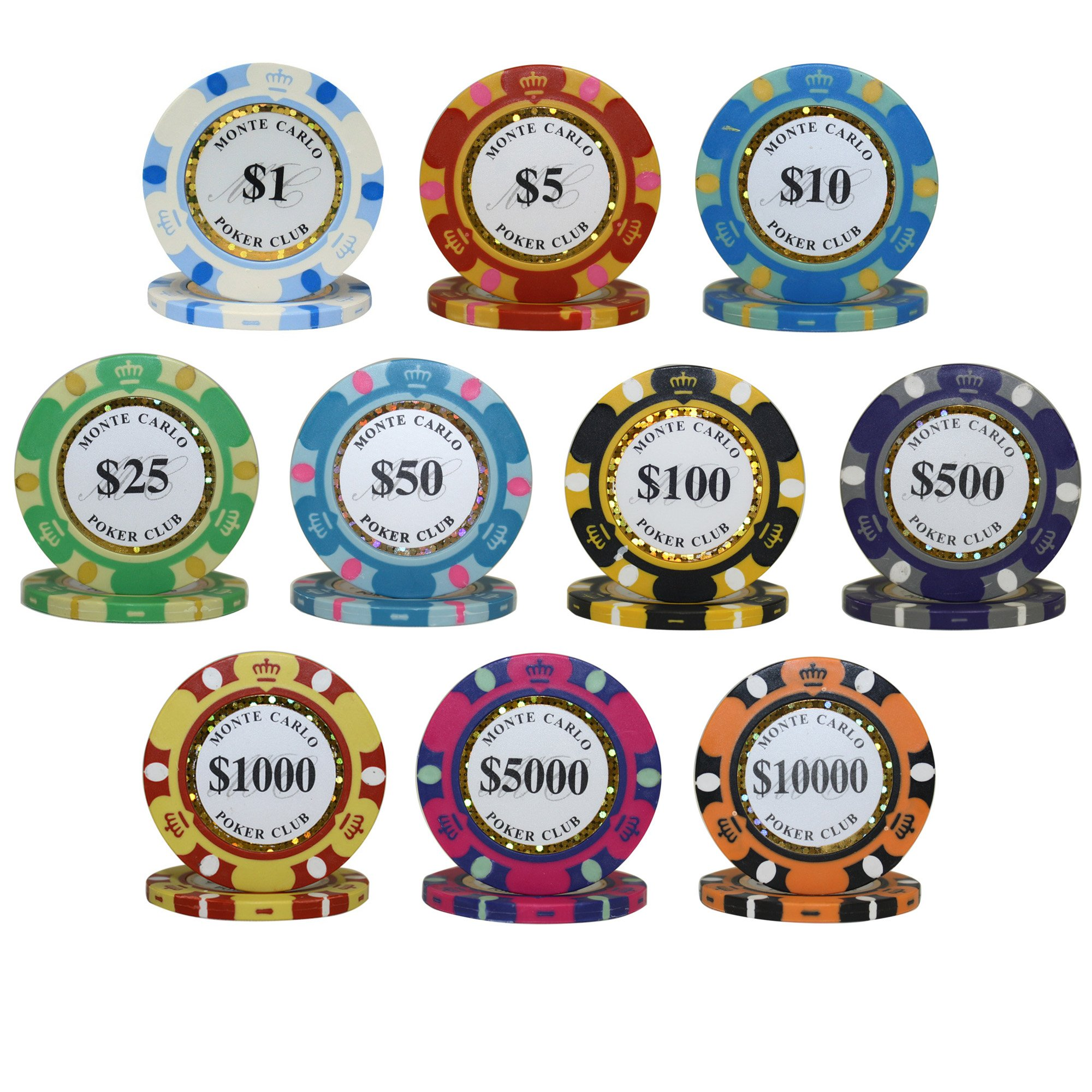 MRC 750pcs Monte Carlo Poker Club Casino Poker Chips Set with High Gloss Wood Case Custom Build by Mrc Poker