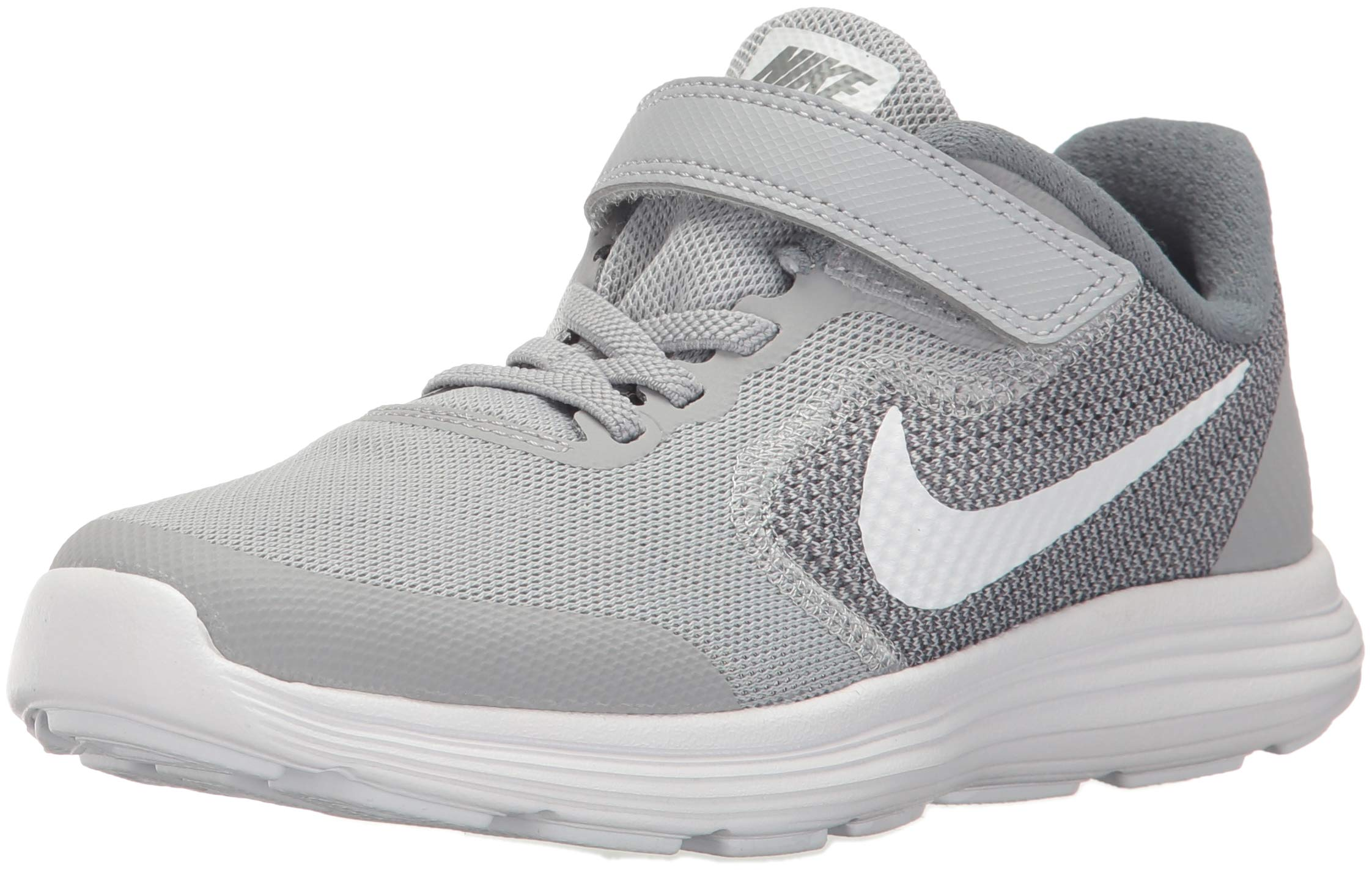 NIKE Kids' Revolution 3 (Psv) Running-Shoes, Wolf Grey/White/Cool Grey, 1 M US Little Kid