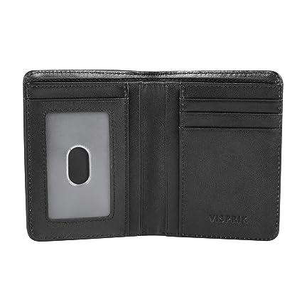 Portafoglio Anti RFID verticale da taschino, pelle Nero