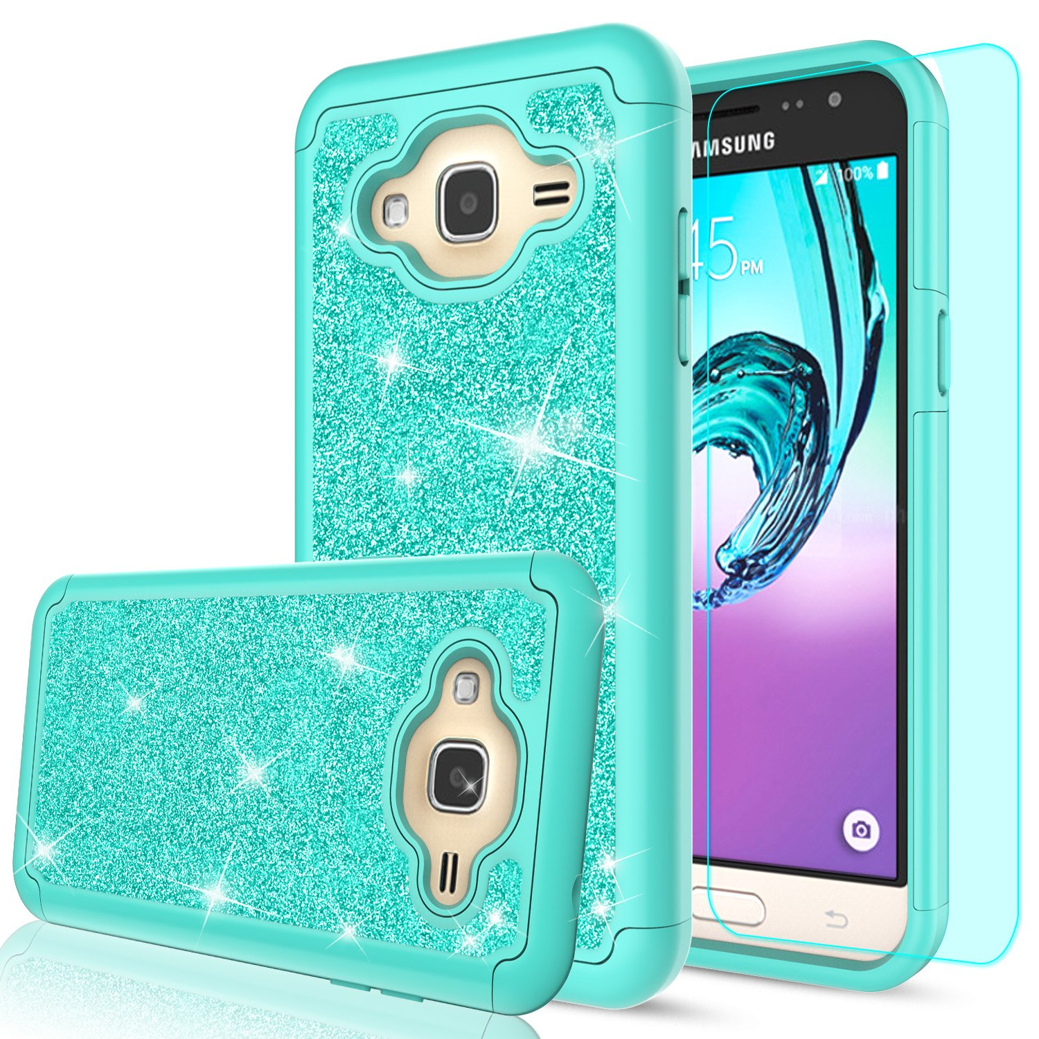 sports shoes ec55e 22454 Galaxy Sky Case,Galaxy J3V / J3 V/Amp Prime / J3 (2016) / Express Prime/Sol  Case with Tempered Glass Screen Protector, LeYi Girls Glitter Bling Heavy  ...