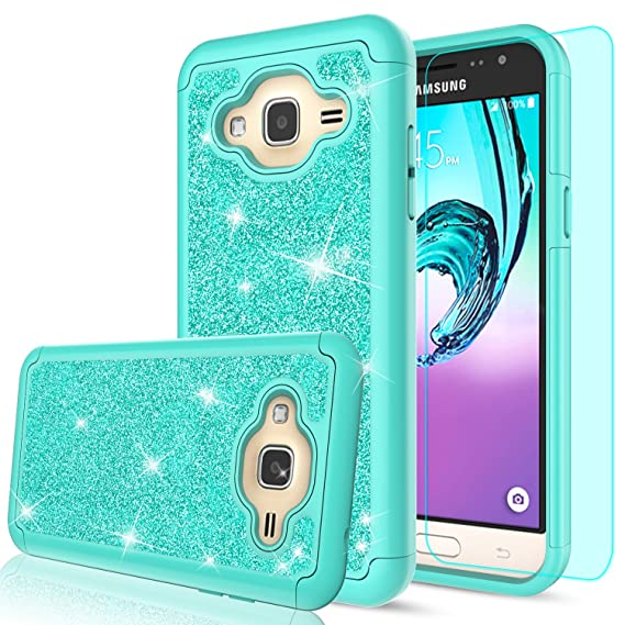 sports shoes 3bbe9 2b780 Galaxy Sky Case,Galaxy J3V / J3 V/Amp Prime / J3 (2016) / Express Prime/Sol  Case with Tempered Glass Screen Protector, LeYi Girls Glitter Bling Heavy  ...
