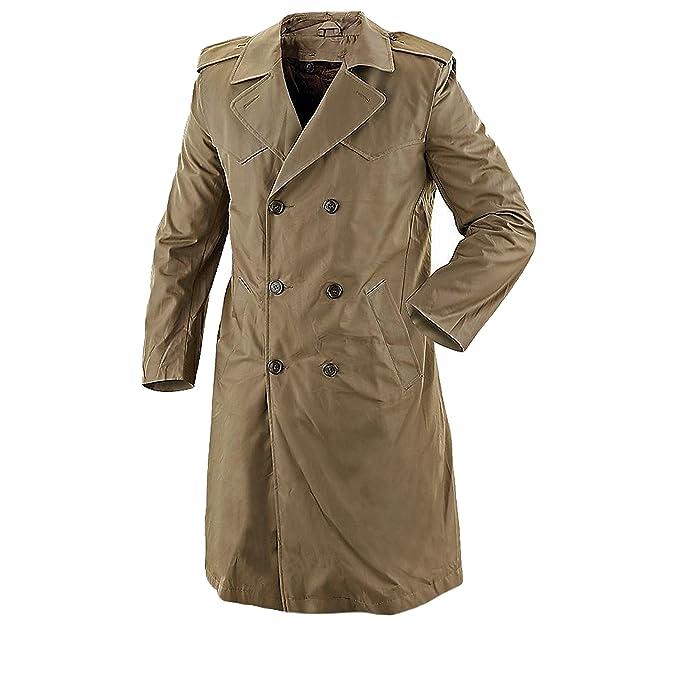 Auténtico abrigo gabardina italiana Militar expedidos doble botón Grado 1 marrón marrón 46: Amazon.es: Ropa y accesorios