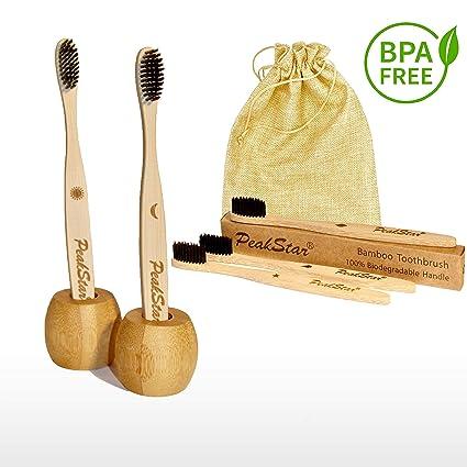 5x Cepillo Dientes Bambu PREMIUM PeakStar | 100% Biodegradable sin BPA | 2 Holders Homenaje + Paquete de Viaje | Cepillos con Finas Cerdas Suaves | ♻ ...