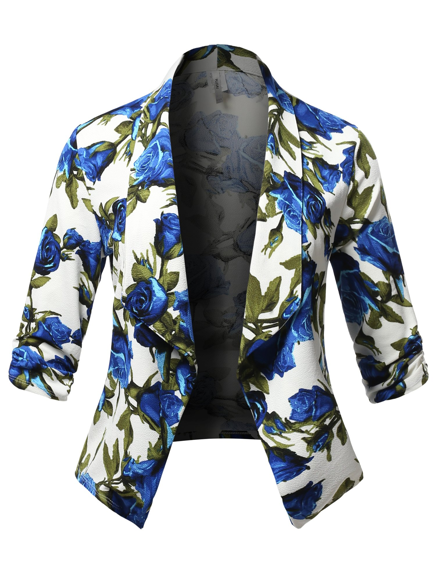 Stretch Design Printed 3/4 Shirring Sleeve Open Blazer [1XL-3XL] Ivory Blue 3XL