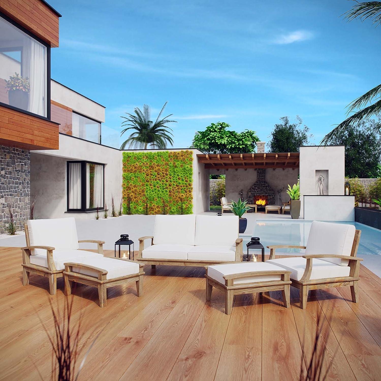 Modway Marina Teak Wood 5-Piece Outdoor Patio Furniture Set in Natural White