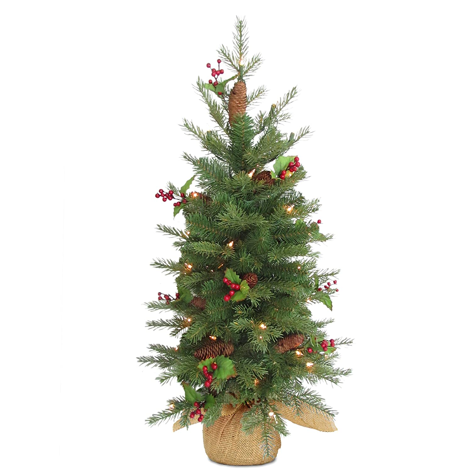 Red Berries and 100 Battery Operated Warm White LED Lights PENS1-355-30-B1 National Tree 3 Feel Real Nordic Spruce Tree with Cones