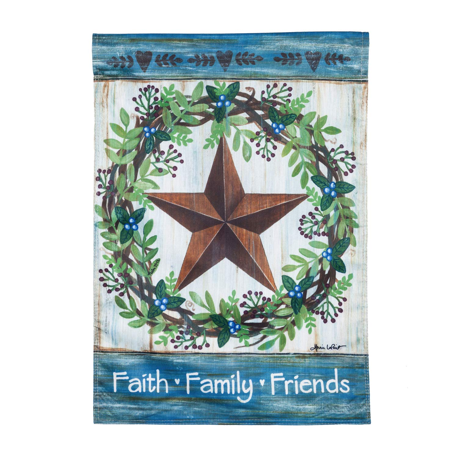 Evergreen Flag Beautiful Faith Family Friends Country Star Strié Garden Flag - 13 x 1 x 18 Inches Fade and Weather Resistant Outdoor Decoration For Homes, Yards and Gardens