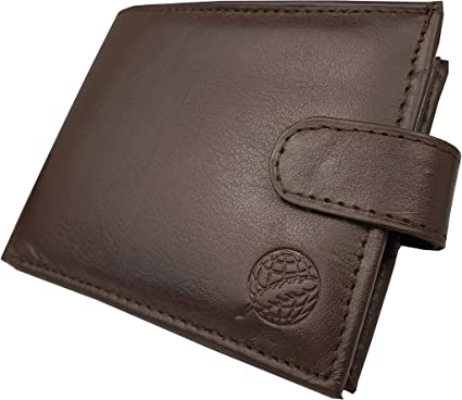 Brown Mens Ladies Real Soft Leather Wallet with Large Coin Pocket Pouch Design