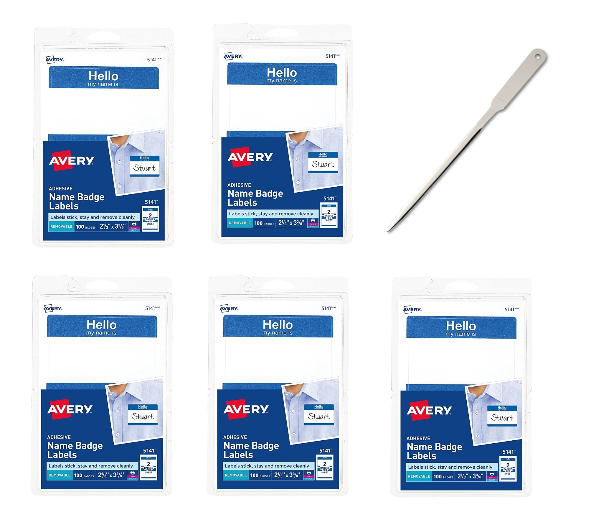 Avery(R) Self-Adhesive Name Badges, Hello My Name is, Blue, Pack of 100, 5 Packs - Bundle Includes a Letter Opener