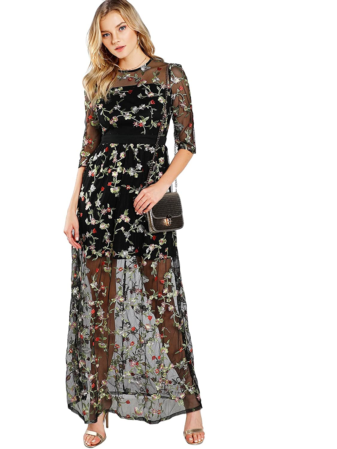 DIDK Women s A Line Floral Embroidery Mesh Sheer Evening Cocktail Dress at  Amazon Women s Clothing store  3c6a89f85