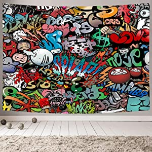 MAMINA Trippy Graffiti Tapestry,Hip Hop Hippie Art Wall Hanging,Funny Colorful Wall Tapestry for Teen Boys Girls, Indie Room Decor Aesthetic Tapestry for Bedroom College Dorm,50