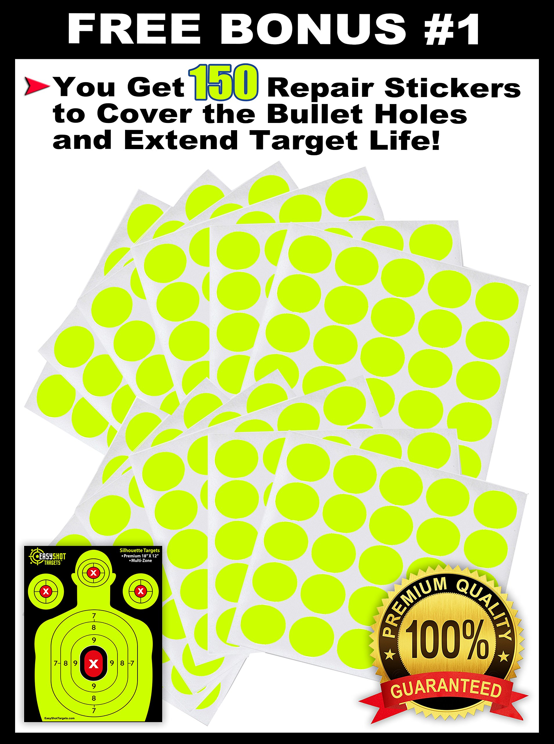 EASYSHOT Shooting Targets 18 X 12 inch. Shots are Easy to See with Our High-Vis Neon Yellow & Red Colors. Thick Silhouette Paper Sheets for Pistols, Rifles, BB Guns, Airsoft, Pellet Guns & More. by EasyShot Targets (Image #6)