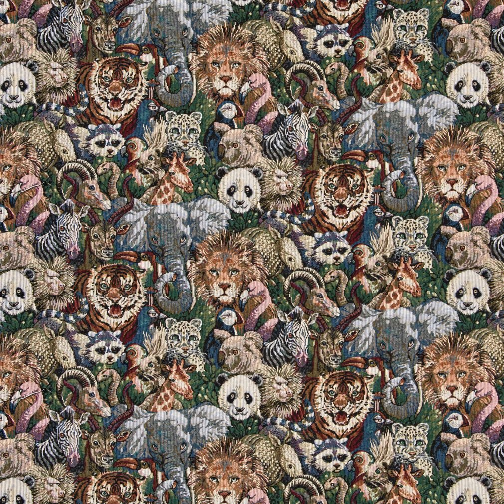 A017 Lions Tigers Elephants Giraffes Pandas Zebras and Pelicans Themed Tapestry Upholstery Fabric by The Yard