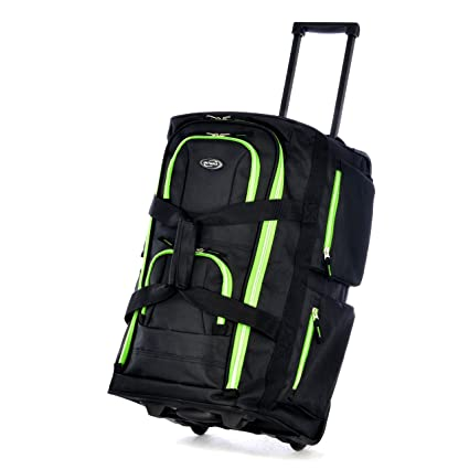 Olympia 22 Inch 8 Pocket Rolling Duffel, Black/Lime, One Size