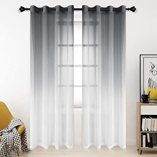 Bermino Faux Linen Ombre Sheer Curtains, 54 x 108 inch, Grey – Grommet Gradient Voile Semi Sheer Curtains for Bedroom and Living Room, Set of 2 Curtain Panels