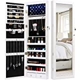 TWING Jewelry Armoire Jewelry Organizer Wall Mounted Lockable 6 LEDs Wall Mounted Jewelry Armoire With Mirror 3 Drawers Door