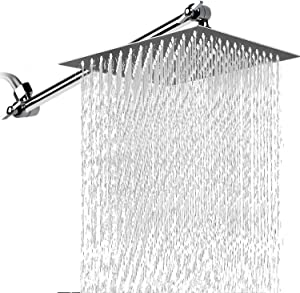 Rain Shower Head with 13.5 Inches Adjustment Extension Arm,10 Inches Large High Pressure Showerhead, Square Stainless Steel Rainfall for Bathroom - Chrome