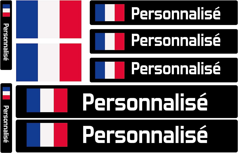 Voitures ou v/élos Haberdashery Online Kit 9 Stickers personnalis/és pour Motos Mod/èle: Blanc /Étiquettes avec Votre Drapeau et Votre Texte