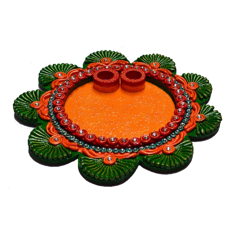 eCraftIndia Papier Mache Decorative Pooja Thali
