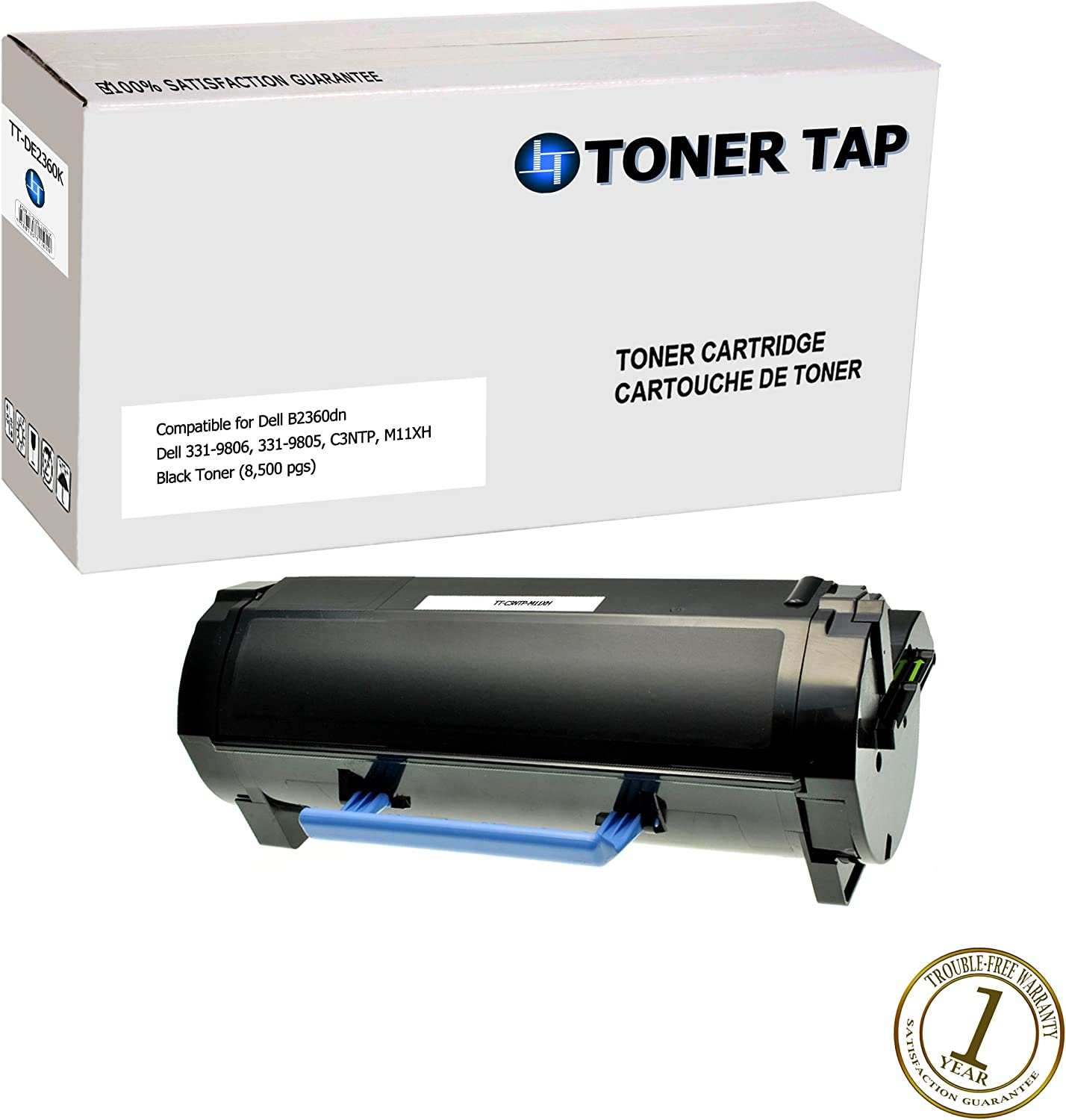 Toner Tap High Capacity Replacement Toner for Dell B2360, B3460, B3465 (8,500 pages), Compatible with Dell Part #'s Dell M11XH, 331-9806