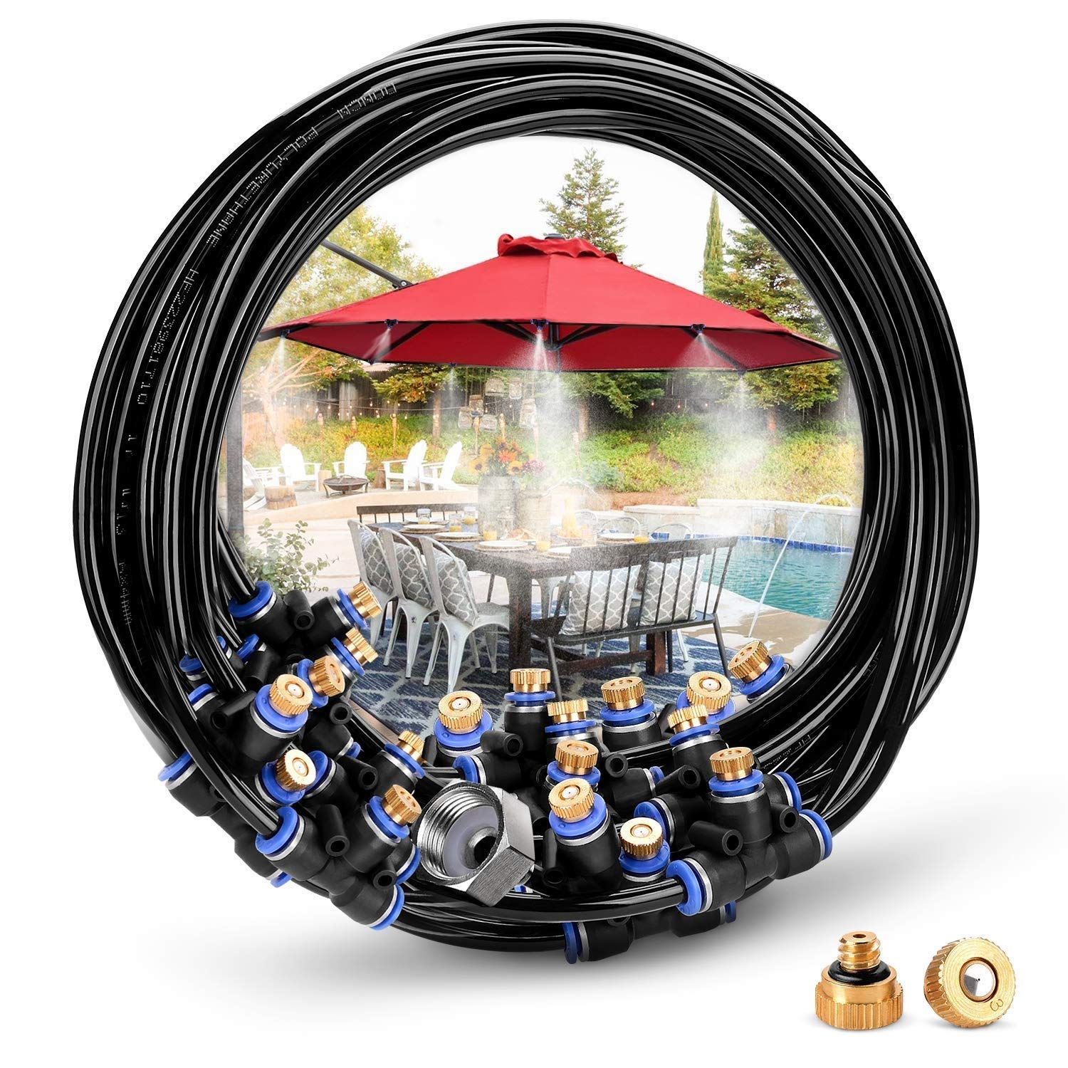 Hiyougen Misting Cooling System, 75.46FT (23M) Misting Line + 34 Brass Mist Nozzles + a Brass Adapter(3/4) for Watering Fan Patio Garden Umbrellas Greenhouse Trampoline by Hiyougen