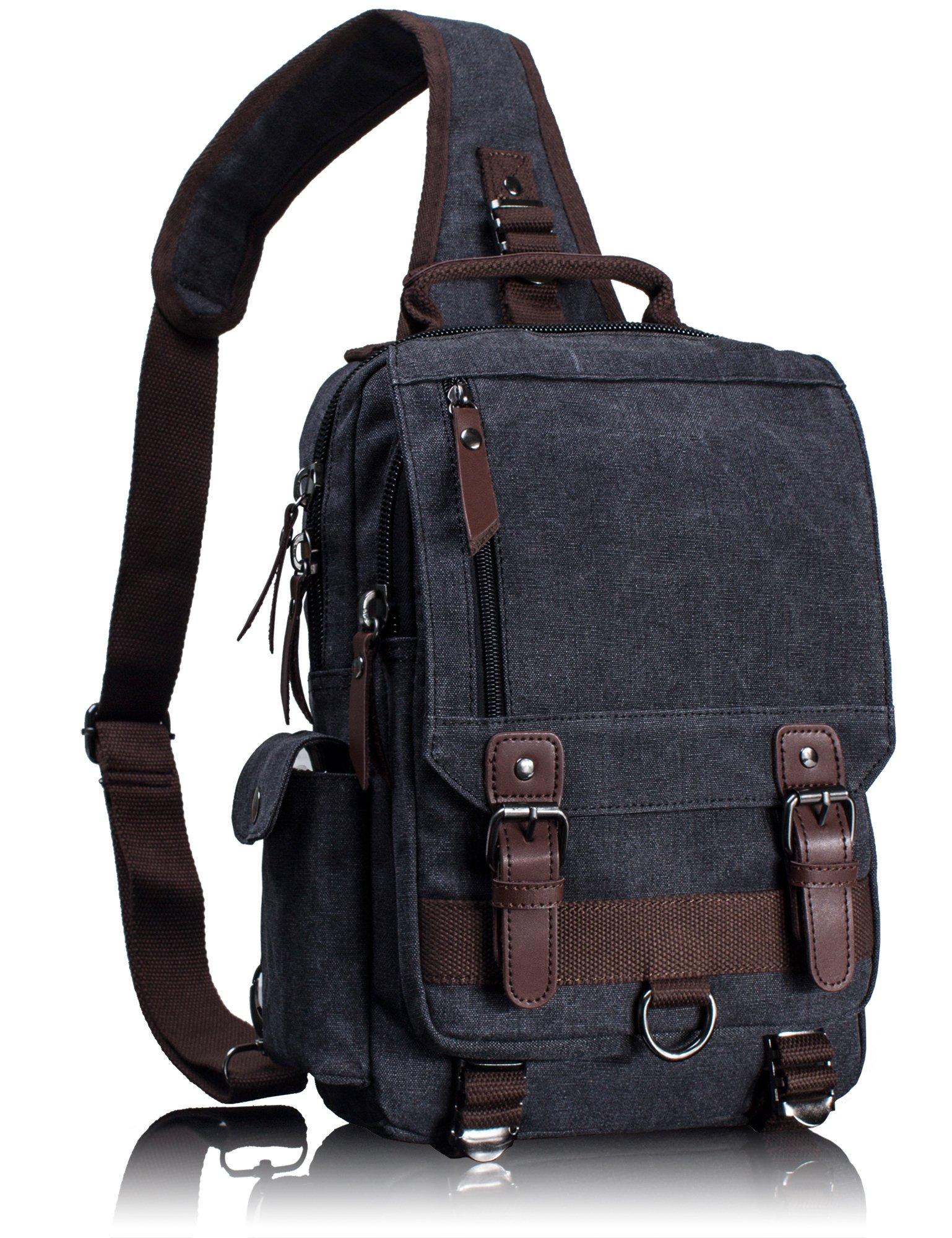 Leaper Canvas Message Sling Bag Outdoor Cross Body Bag Messenger Shoulder Bag (Medium,Black)
