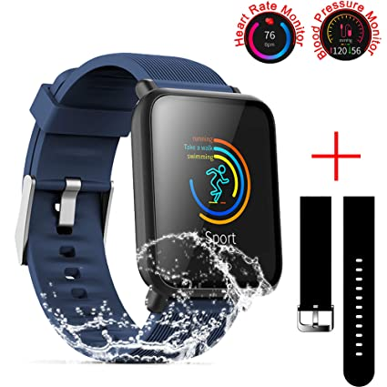 SZHAIYU Blood Pressure Heart Rate Monitor Smart Watch for Android iOS IP67 Waterproof Sport Fitness Trakcer Watch Men Women Smartwatch (Blue)