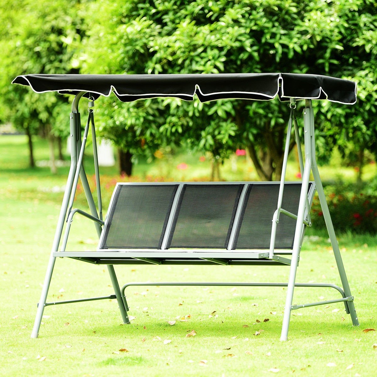 Dayanaprincess 3 Persons Patio Powder Finish Canopy Deck Swing Bench Heavy Duty Steel Construction Outside Chairs for Porch Garden Backyard Decor by Dayanaprincess (Image #3)