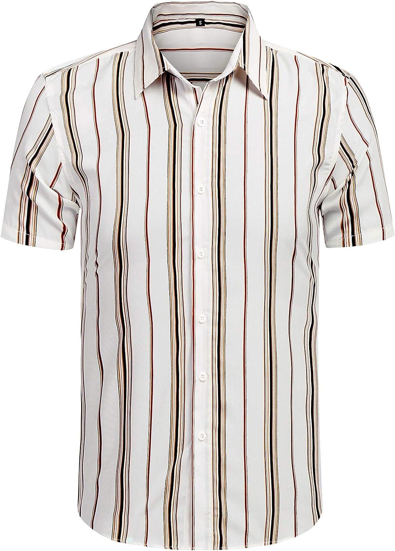 KLJR Men Slim Fit Long Sleeve Rose Digital Print Button Down Button Up Dress Work Shirt