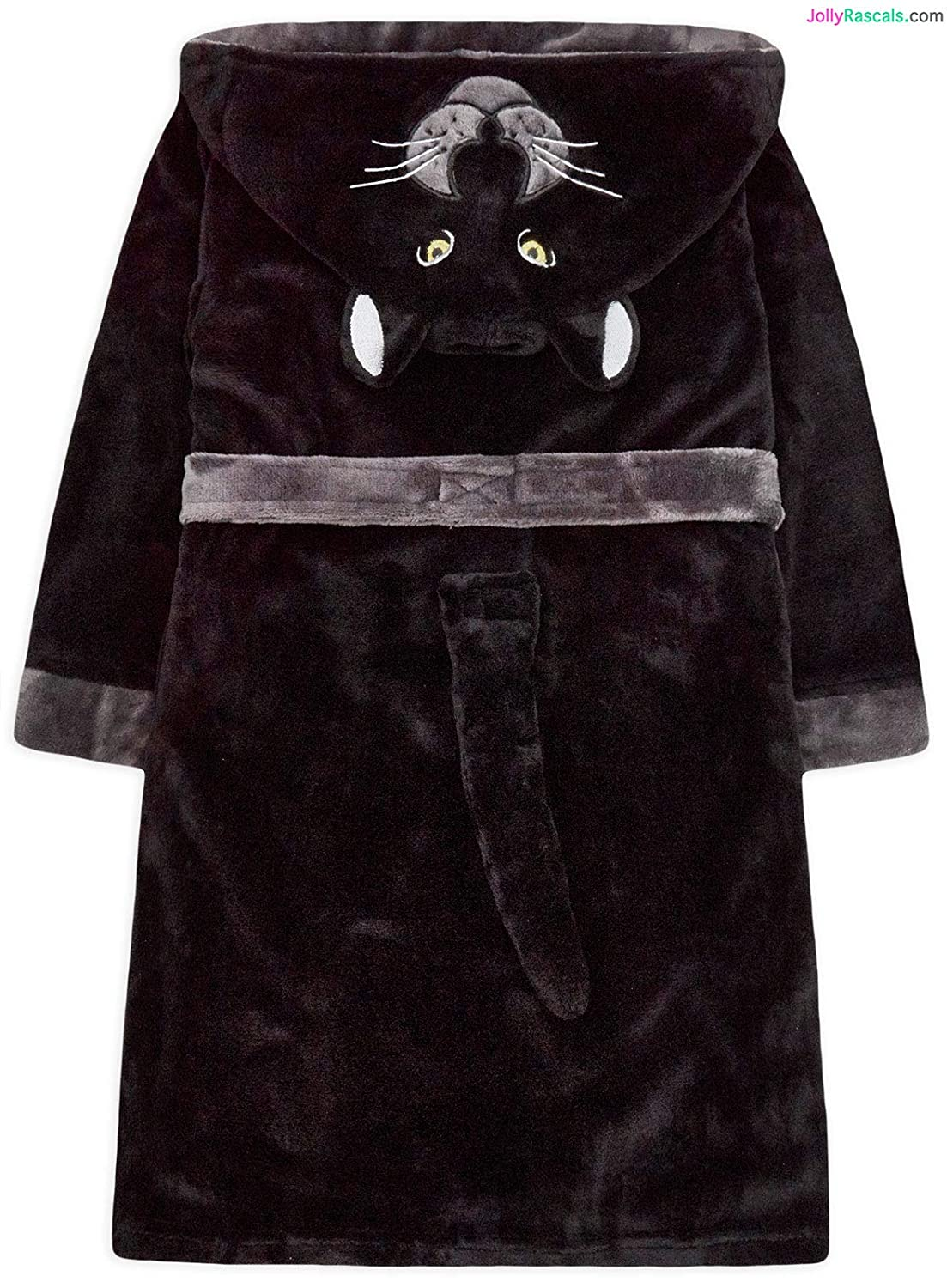 JollyRascals Boys Dressing Gown Black Panther Hooded Soft Robe Kids New Ages 7 8 9 10 11 12 13 Years